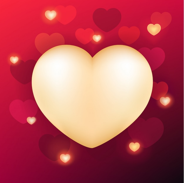 Valentine's day background with realistic heart Premium Vector