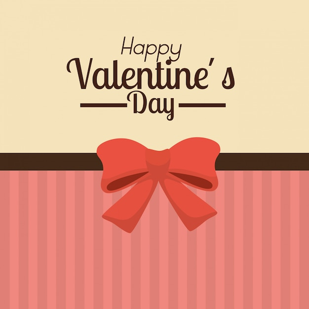 Valentine's day background with red bow Free Vector
