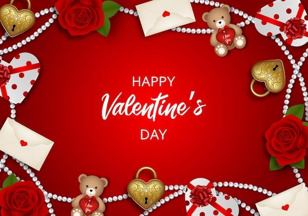 빨간 장미, 곰, 금 자물쇠 및 선물 상자와 함께 발렌타인 배경 프리미엄 벡터