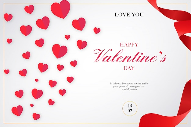 Valentine's day background with ribbons and hearts Free Vector