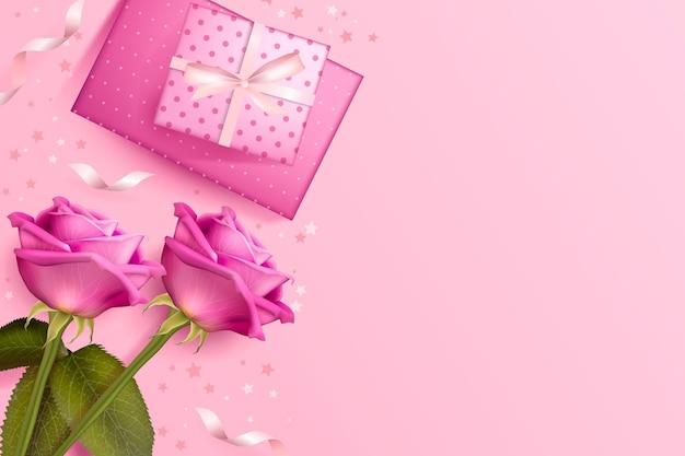 День святого валентина фон с розами и подарками Premium векторы