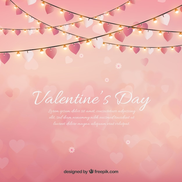valentines day background with string lights free vector - Valentine String Lights