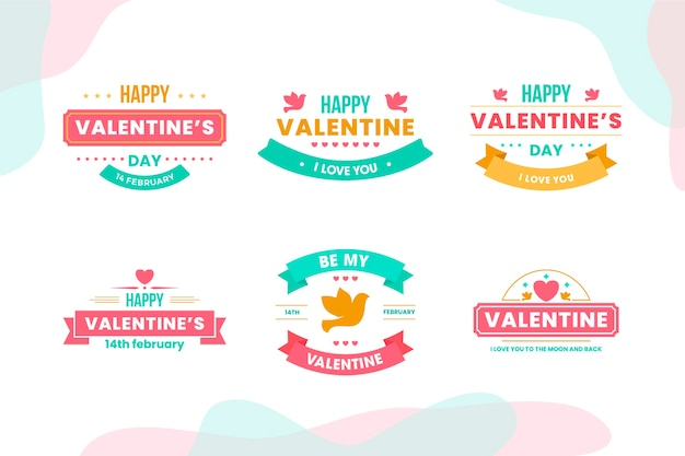Valentine's day badge collection in flat design Free Vector