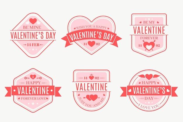 평면 디자인의 발렌타인 배지 컬렉션 무료 벡터