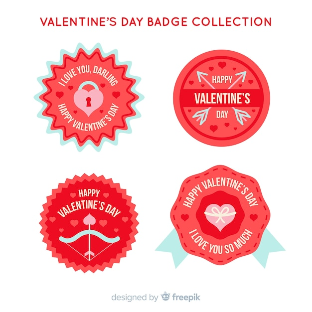 Valentine S Day Badge Collection Vector Free Download