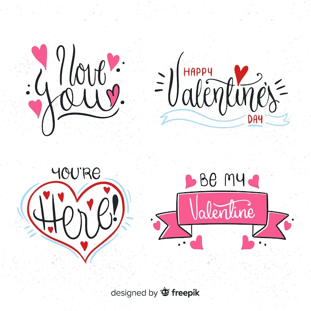 Valentine's day badge collection Free Vector