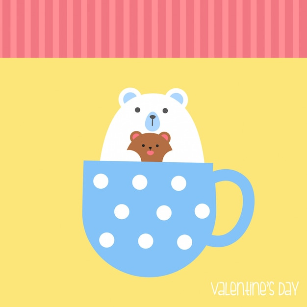 Valentine's day banner, background, flyer, placard with cute animals. holiday poster for scrapbooking. Premium Vector