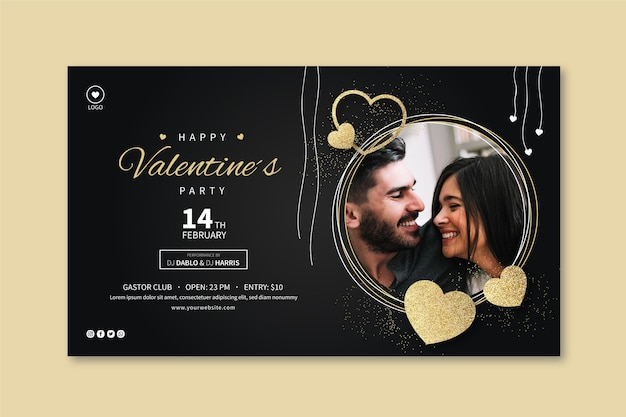 Valentine's day banner template with photo Free Vector