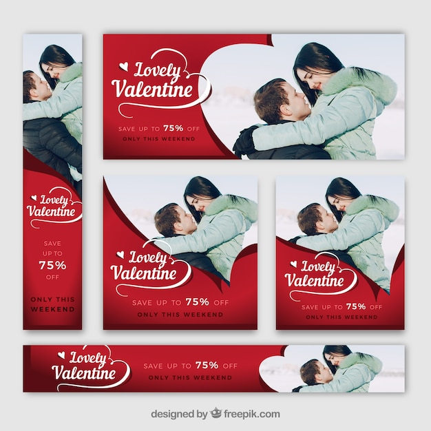 Valentine's day banner web Free Vector