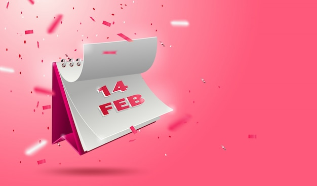 Valentine's day banner with open 3d calendar 14 february and glitters Premium Vector