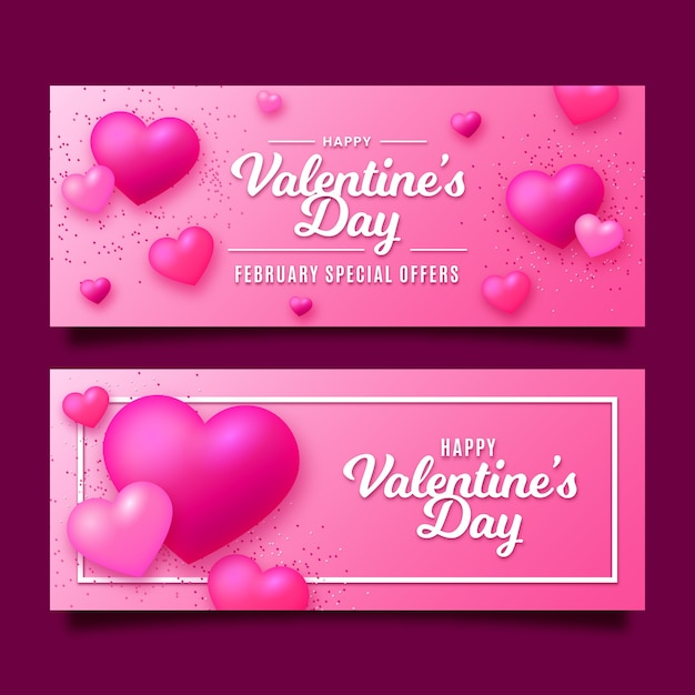 Valentine's day banners in flat design Free Vector