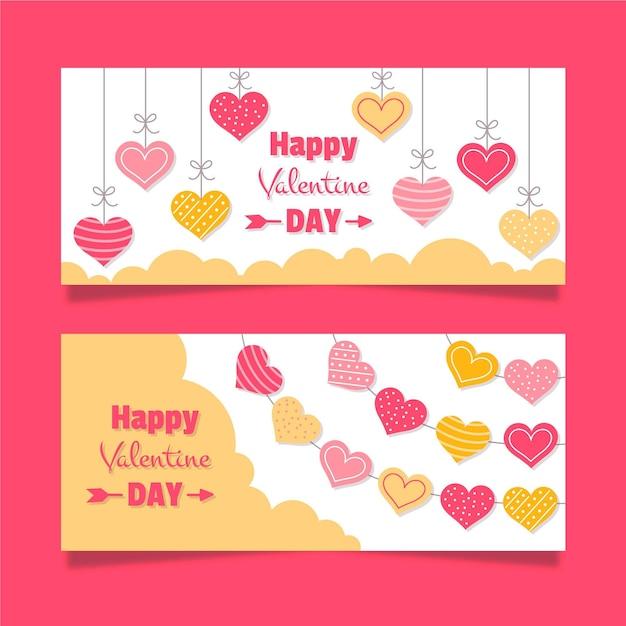Banner di san valentino in design piatto Vettore gratuito