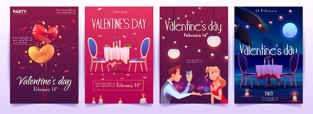 Valentine's day banners set. invitation for dating Free Vector