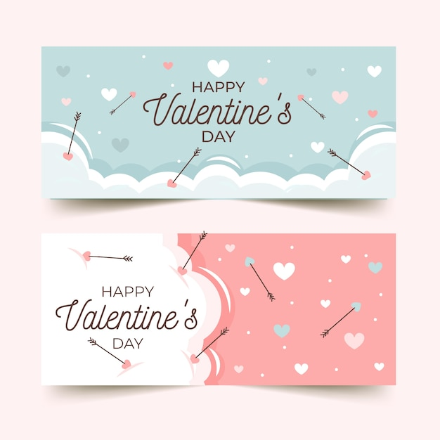 Valentine's day banners with greeting Free Vector