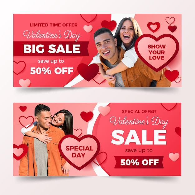 Valentine's day banners with photo Free Vector