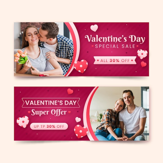 Valentine's day banners with special sale Free Vector