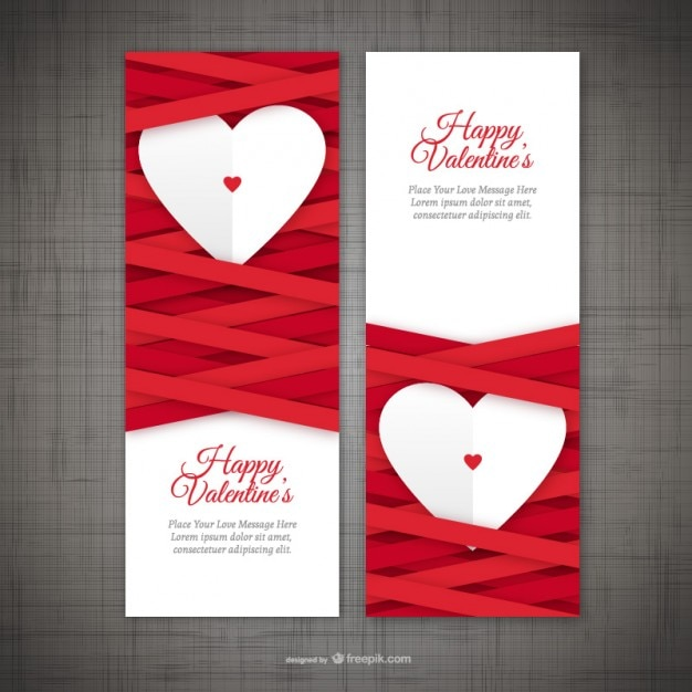 image relating to Happy Valentines Day Banner Printable called Valentines working day banners Vector No cost Down load