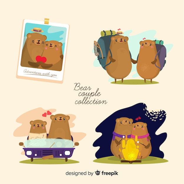 Valentine's day bear couple collection Free Vector