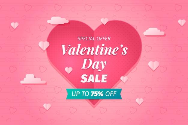 Valentine's day big sale background Free Vector