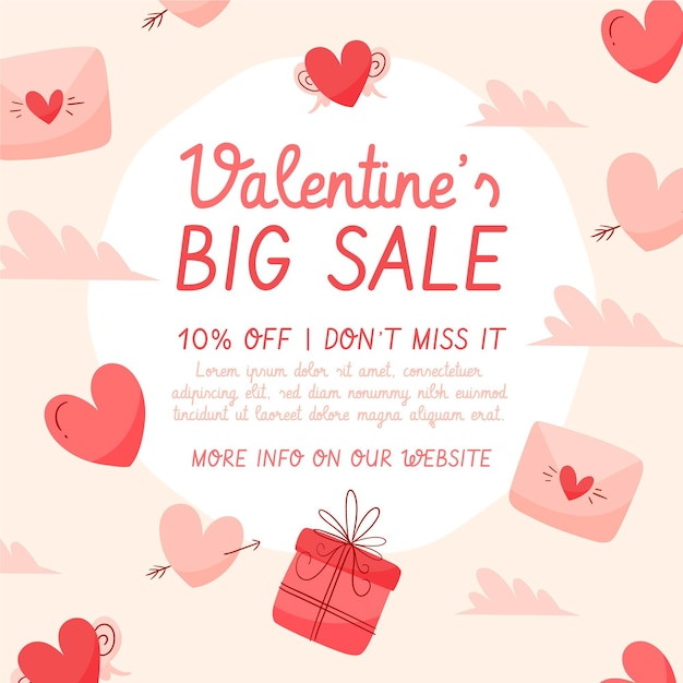 Valentine's day big sale hand drawn Free Vector