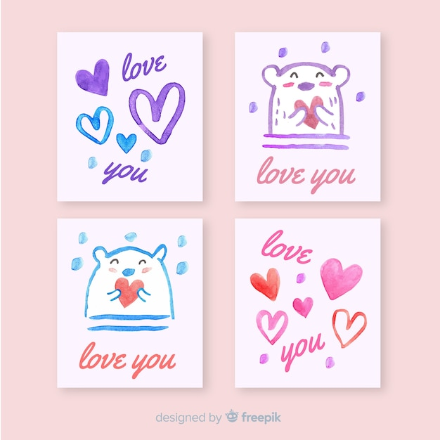 Valentine's day card collection Free Vector
