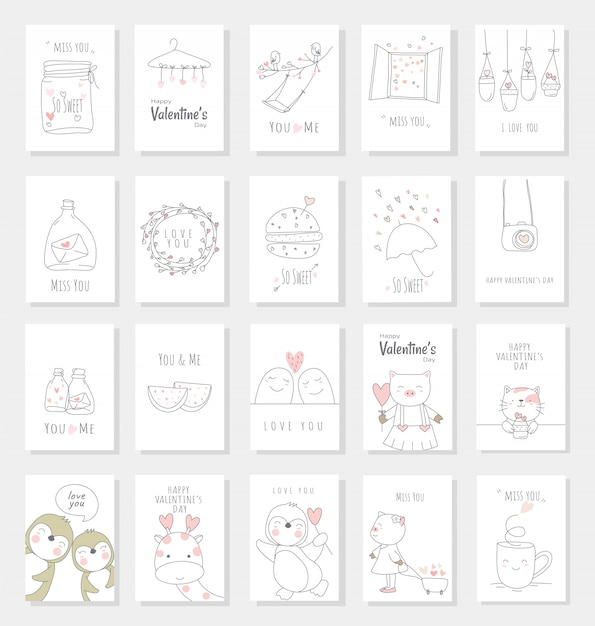 Valentine's day card set with hand drawn style Premium Vector