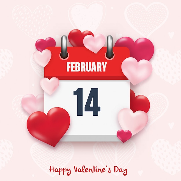 Valentine's day card with calendar icon and hearts Premium Vector