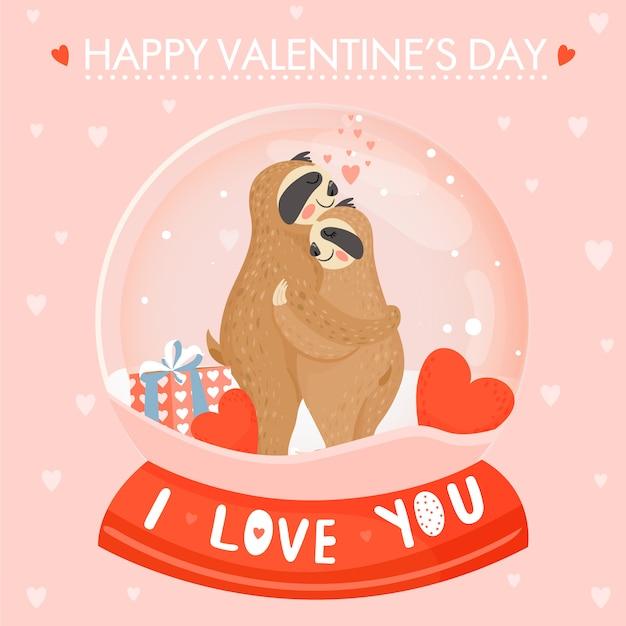 귀여운 나무 늘보 부부와 함께 발렌타인 데이 카드. 프리미엄 벡터