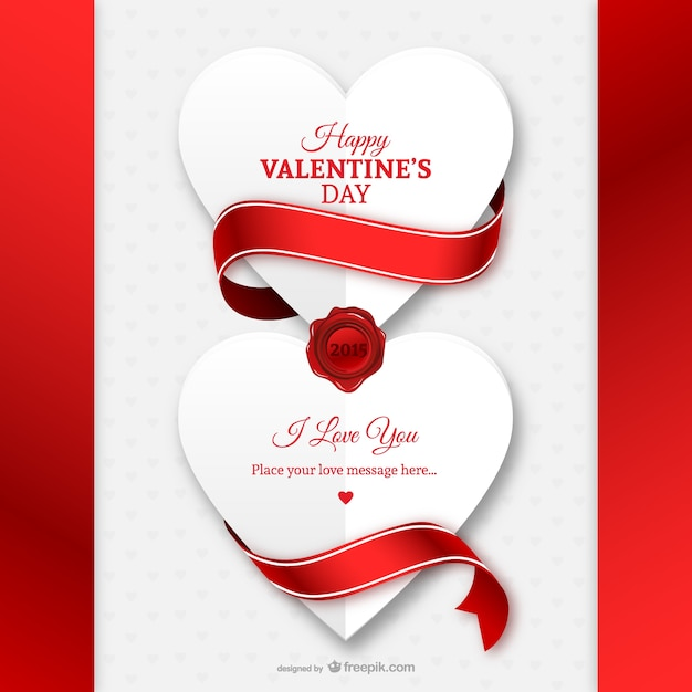 Valentine\'s Day card with paper hearts