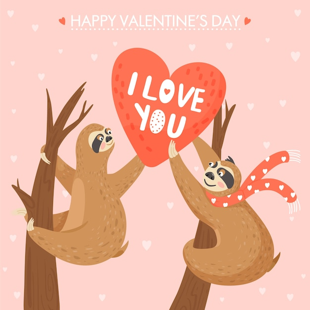 나무 늘보와 발렌타인 데이 카드 프리미엄 벡터