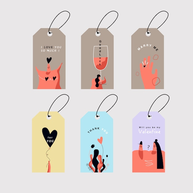 Valentine's day cards set vector Free Vector