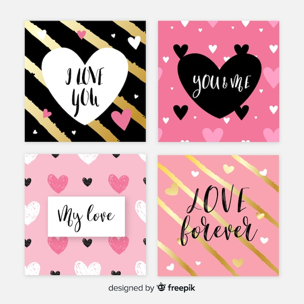 Valentine's day cards set Free Vector