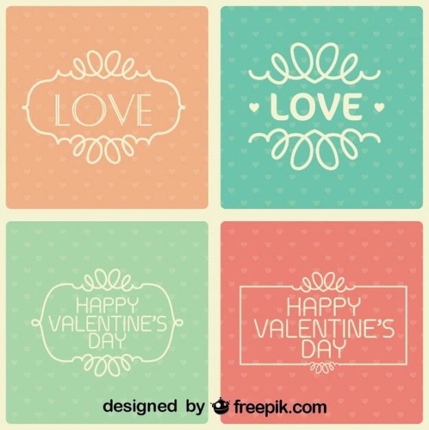 Valentine's Day Collection of Retro Cards Free Vector