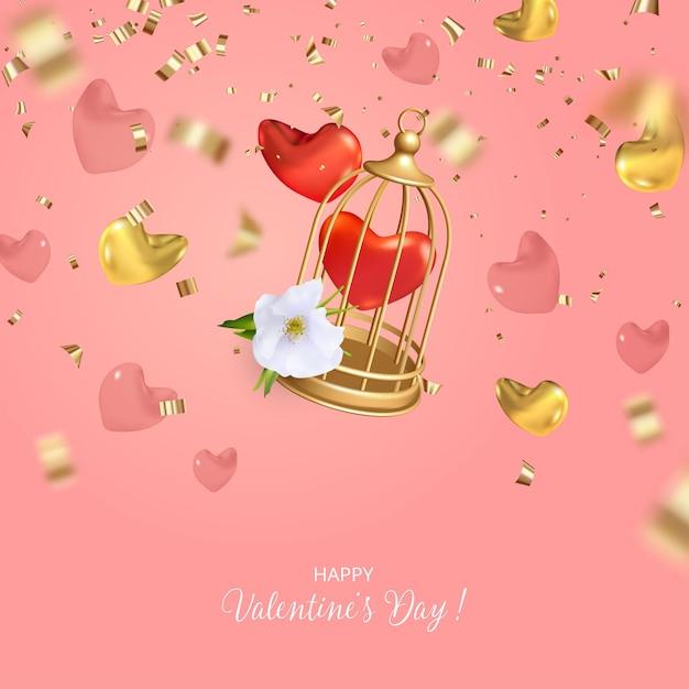 Дизайн концепции ко дню святого валентина с падающей клеткой для птиц, сердечками и блестками Premium векторы