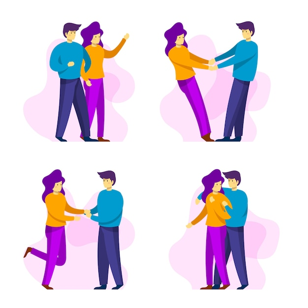 Valentine's day couple being together collection Free Vector