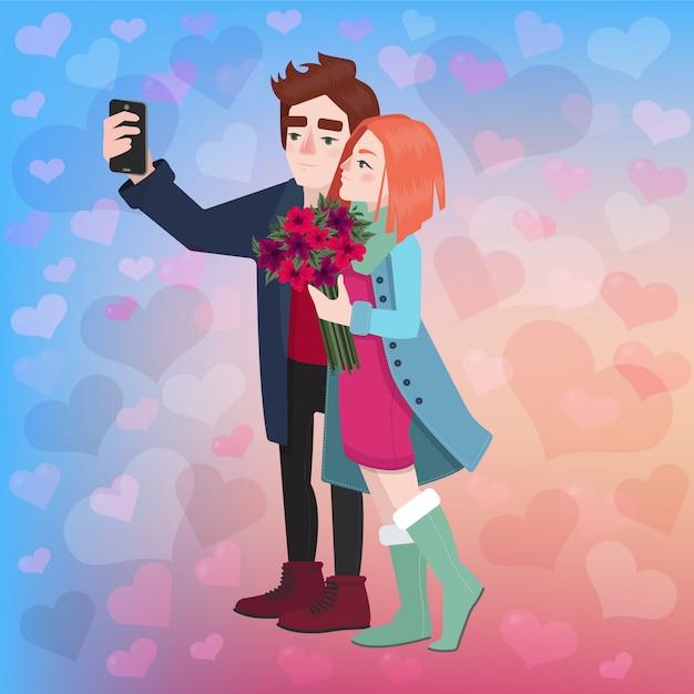 Valentine's day couple selfie Premium Vector
