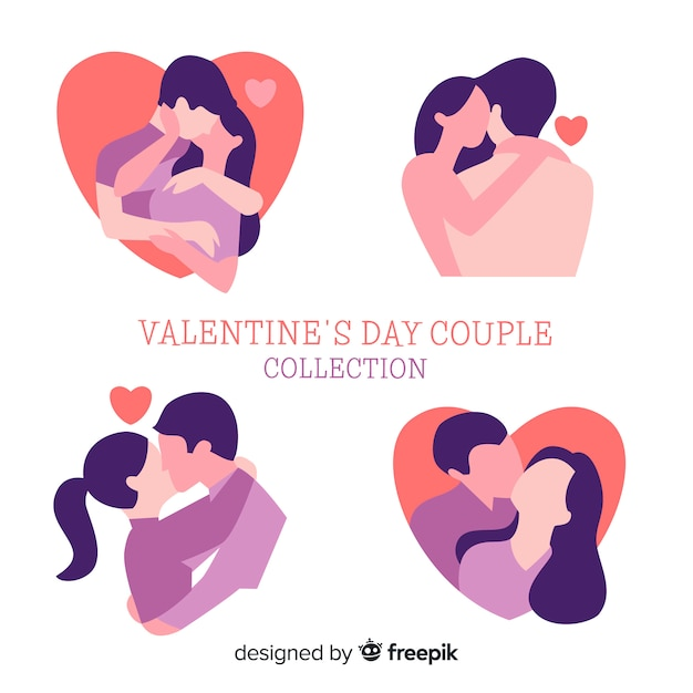 Valentine's day couple silhouette pack Free Vector