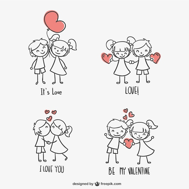Giorno graziosi bambini di san valentino Vettore gratuito