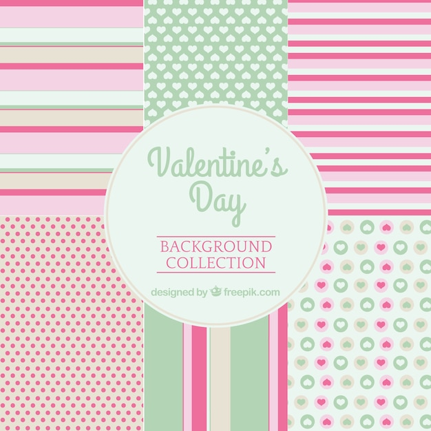 Valentine's day cute patterns Free Vector