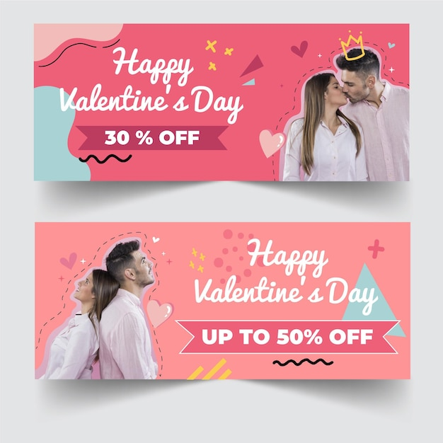 Valentine's day discount sale banners with photo Free Vector