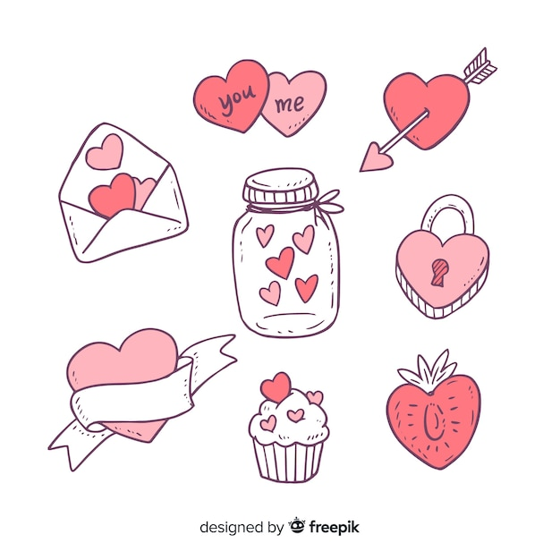 Valentine's day doodle elements collection Free Vector