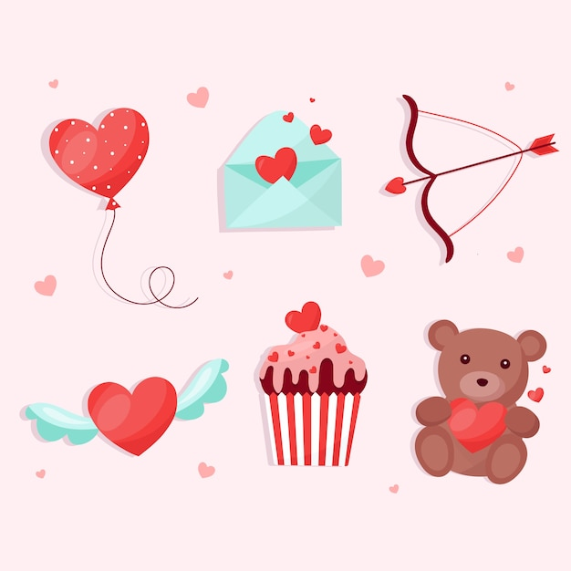 Valentine's day element collection in flat design Free Vector