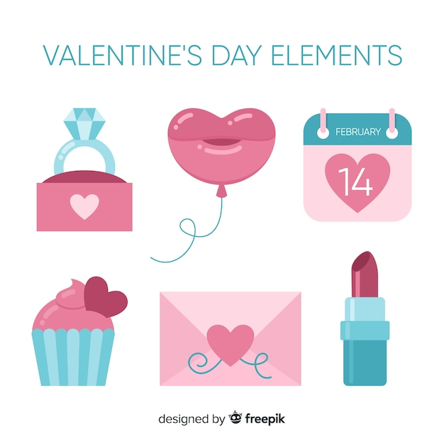 Valentine's day element collection Free Vector