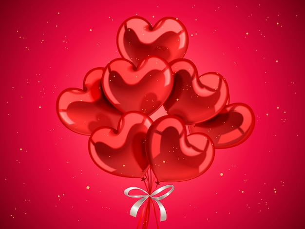 バレンタインデーの要素、3dイラストの黄金の粒子でお祝いのためのハート型の風船 Premiumベクター