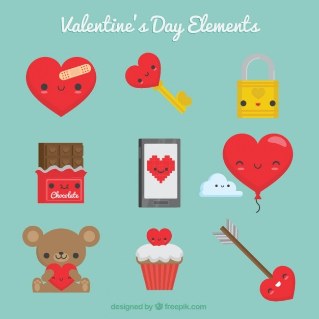 Valentine S Day Elements With Red Details Vector Free Download