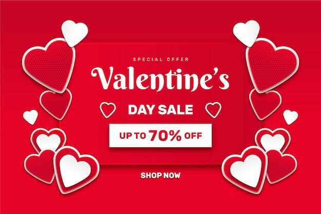 紙のスタイルでバレンタインデーのイベントセール 無料ベクター