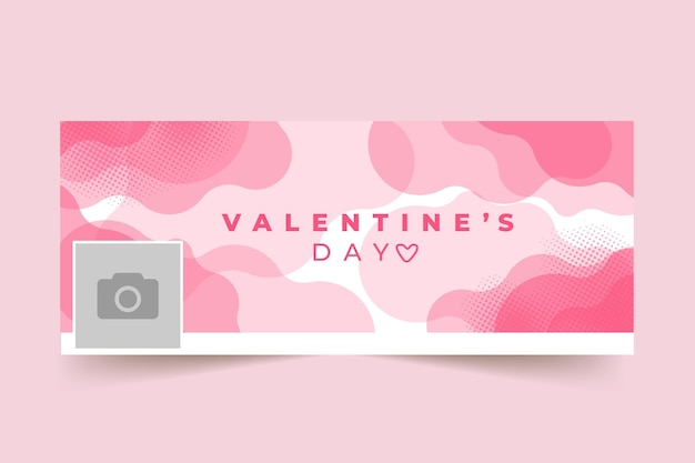 Valentine's day facebook cover template Free Vector