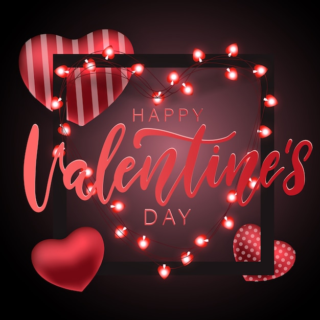 Valentine's day festive party card Premium Vector