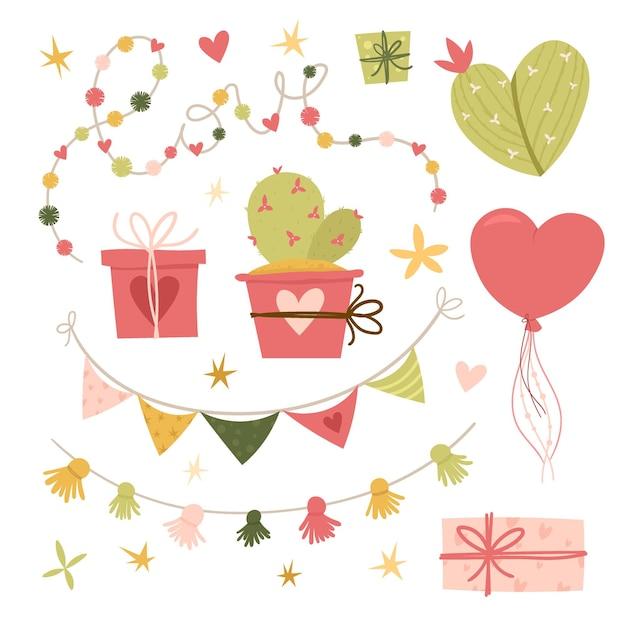 발렌타인 데이 평면 그림. 선인장, 사랑스러운 꽃, 하트 컬렉션 디자인 요소입니다. 선물, 풍선, 리본. . 인사말 카드 또는 초대장 유행 스타일 벡터 일러스트 레이 션 프리미엄 벡터