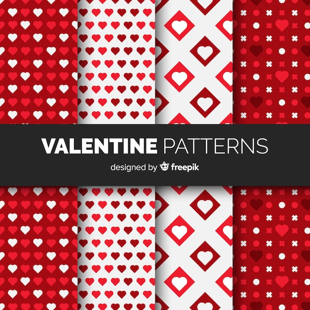 Valentine's day flat pattern collection Free Vector